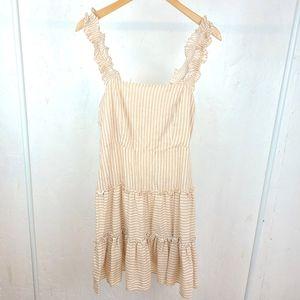 F21 Creamy Orange White Stripe Contemporary Dress